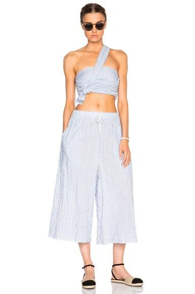 Cotton Stripe Cropped Wide Leg Pants