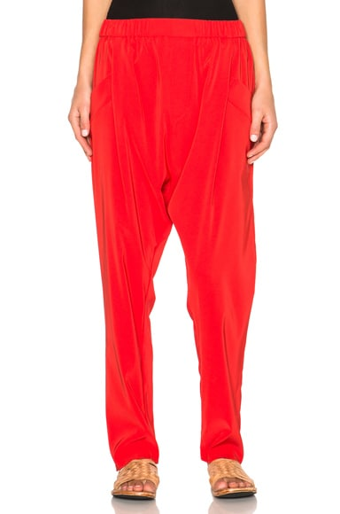 Baja East Satin Back Crepe Trousers in Fire Coral