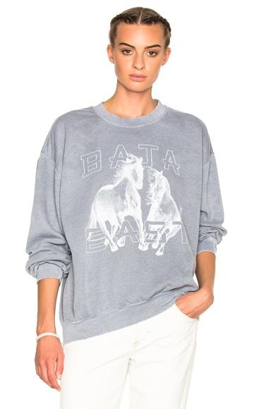 Baja East Fleece Horses Sweatshirt in Grey