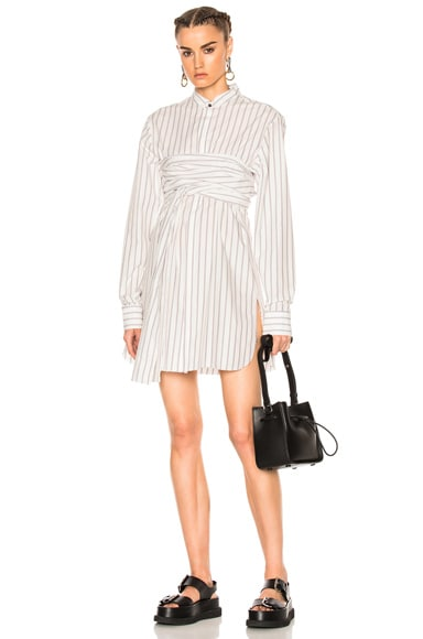 Wide Stripe Poplin Dress