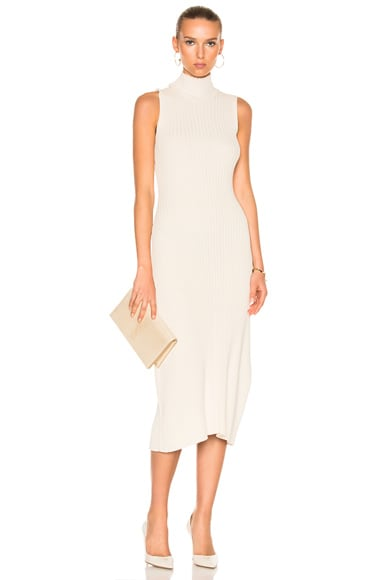 Baja East Cotton Rib Dress in Ivory