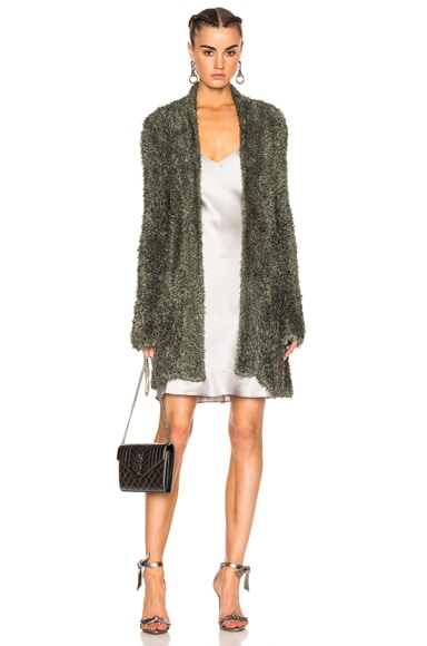 Baja East Fuzzy Knit Jacket in Olive