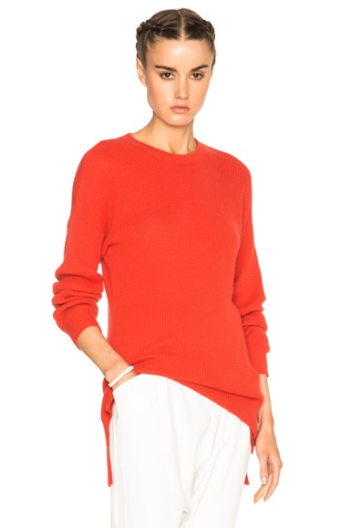 Baja East Cashmere Waffle Sweater in Fire Coral