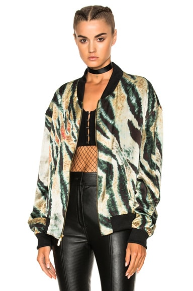 Print Satin Bomber Jacket