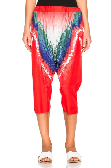 Baja East Tie Dye Print Satin Trousers in Multi