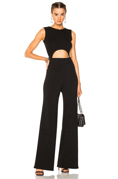Cotton Lurex Rib Knit Cutout Jumpsuit