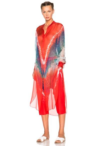 Baja East Tie Dye Print Chiffon Top in Multi