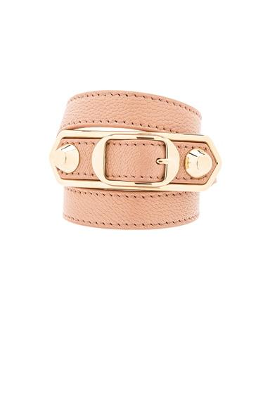 Balenciaga Large Metallic Edge Bracelet in Desert Rose