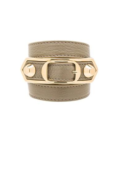 Balenciaga Large Metallic Edge Bracelet in Taupe Grey