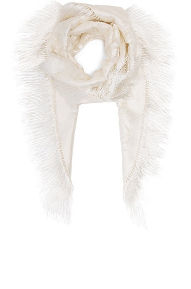 Balenciaga Embroidered Fringe Scarf in Off White