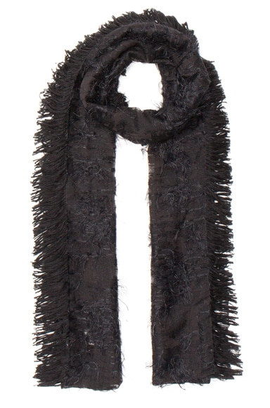 Balenciaga Silk Fringe Scarf in Black