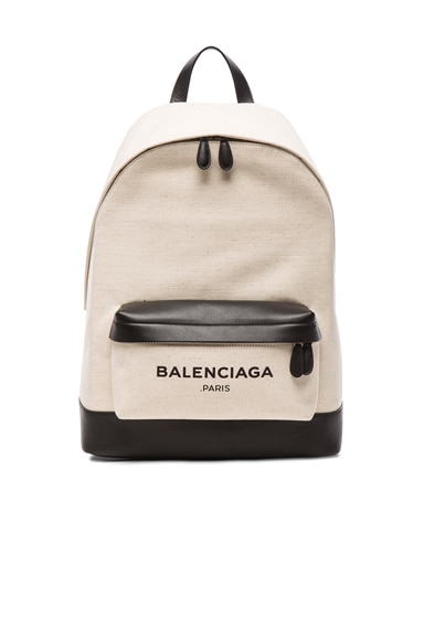 Balenciaga Navy Backpack in Black & Natural