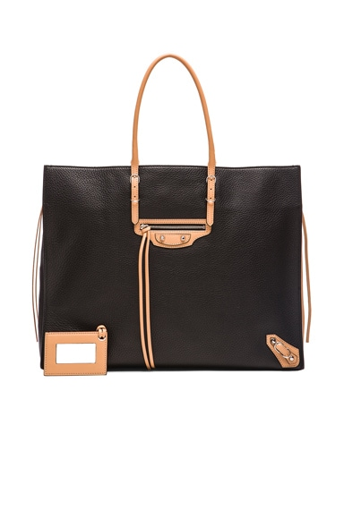 Balenciaga Papier Zip Around A4 in Black & Natural
