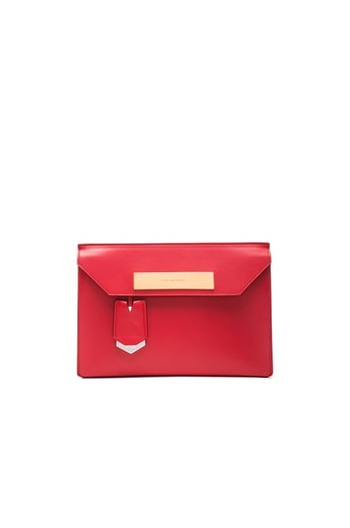 Balenciaga Cable Flap Clutch in Ruby Red
