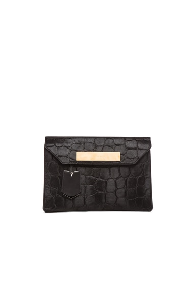 Balenciaga Embossed Pony Cable Flap Clutch in Black