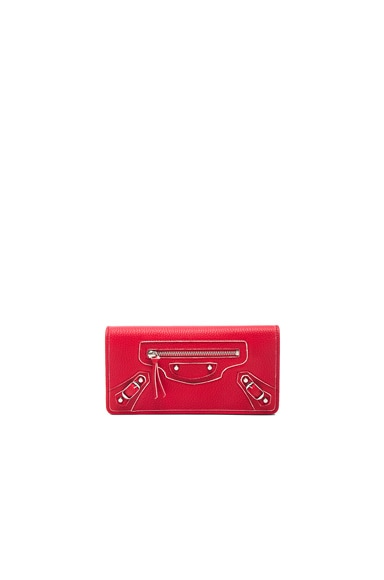 Balenciaga Classic Painted Edge Money Wallet in Rouge Fraise