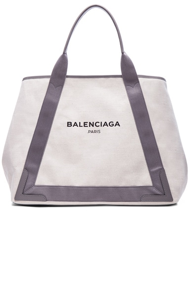 Balenciaga Medium Canvas Tote in Natural & Taupe