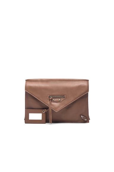 Balenciaga Paper Zip Around Sight Clutch in Marron Tabac