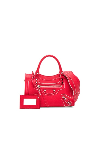 Balenciaga Classic Painted Edge Mini City AJ in Rouge Fraise