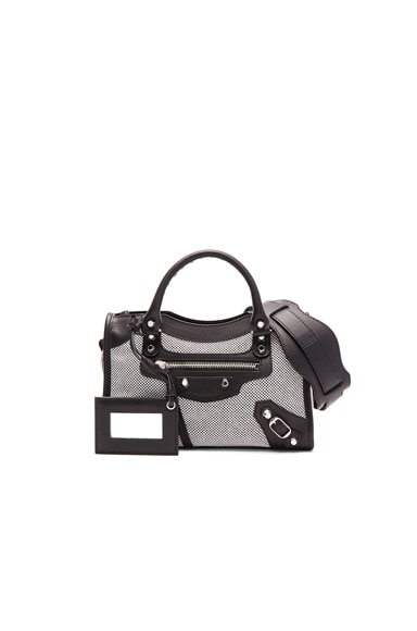 Balenciaga Contrast Fabric Classic Mini City AJ in Blanc & Noir