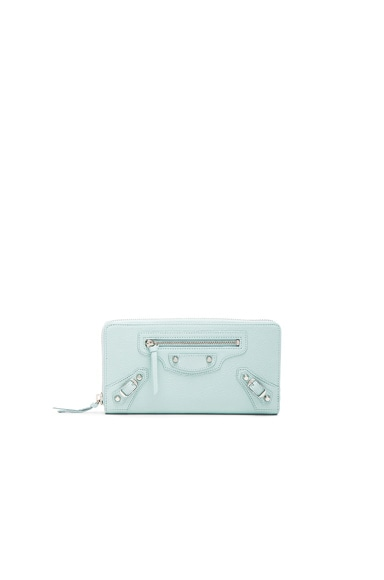 Balenciaga Classic Continental Wallet in Maldives Blue