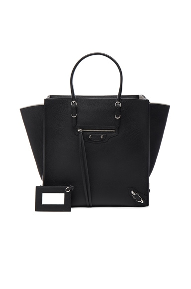Balenciaga Papier Zip Around A5 Tote in Noir & Gris Perle