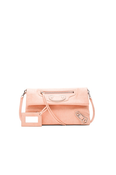 Balenciaga Metallic Edge Envelope in Rose Corail