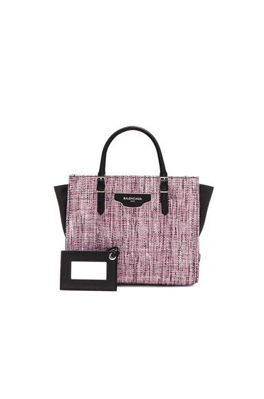 Balenciaga Tweed Papier Zip Around Plate in Rose & Pink