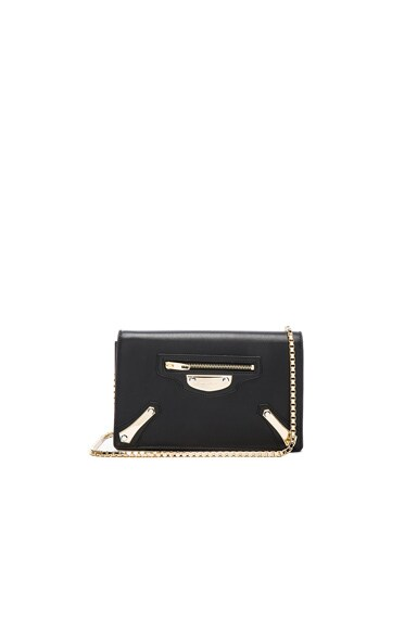 Balenciaga Metal Plate Chain Bag in Black