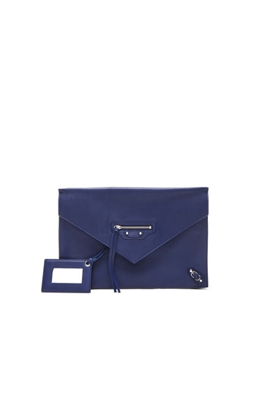 Balenciaga Papier Zip Around Sight Clutch in Officer Blue