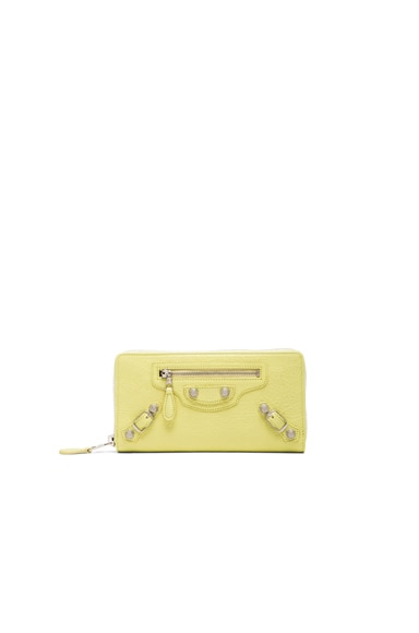 Balenciaga Giant Continental Zip Wallet in Citron Yellow