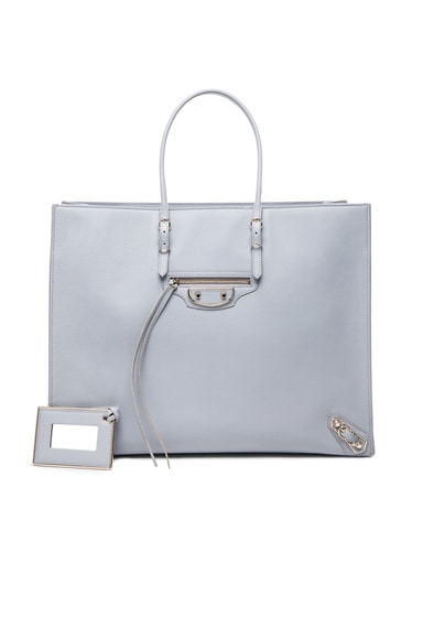 Balenciaga Papier A4 Tote with Nickel in Grey
