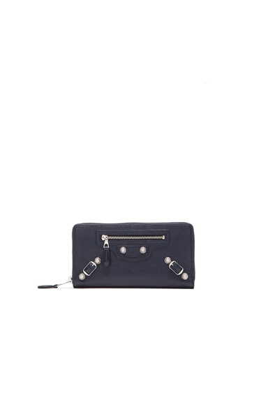 Balenciaga Giant Continental Zip Wallet in Dark Blue