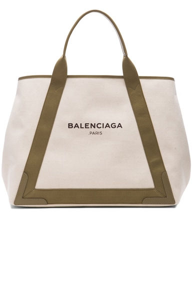 Balenciaga Navy Medium Cabas in Green & Natural