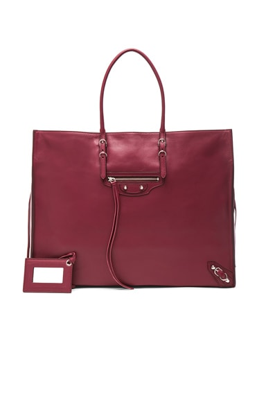 Balenciaga Papier Zip Around A4 Tote in Maroon