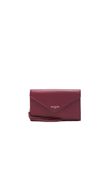 Balenciaga Papier Zip Around Money Wallet in Maroon