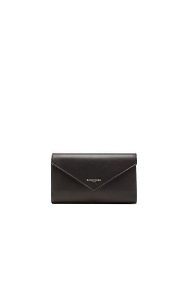 Balenciaga Papier Zip Around Money Wallet in Black