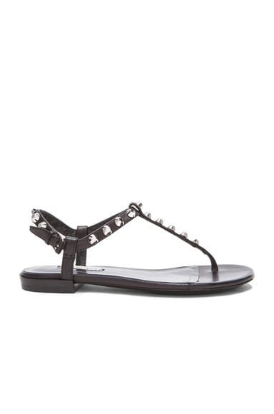 Giant Stud T Strap Leather Sandals