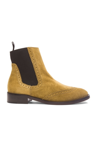 Balenciaga Split Leather Chelsea Boots in Beige Fauve