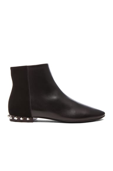 Balenciaga Studded Heel Leather & Suede Boots in Black