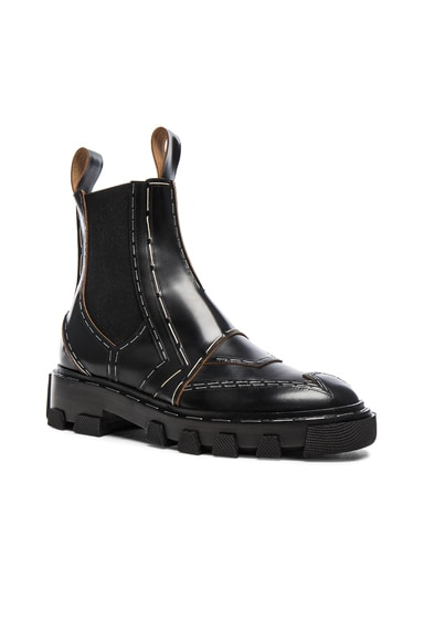 Shiny Leather Chelsea Boots