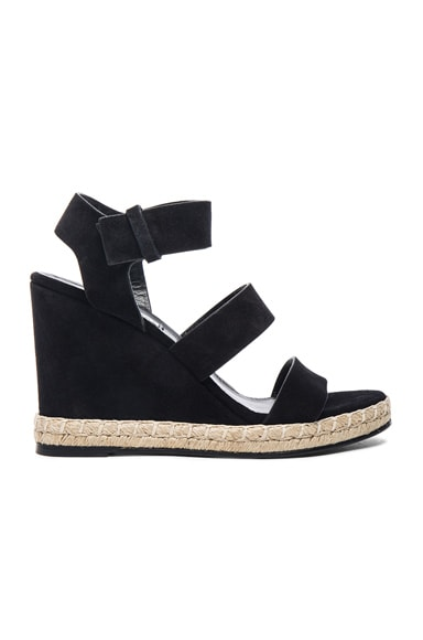 Balenciaga Suede Wedge Sandals in Black