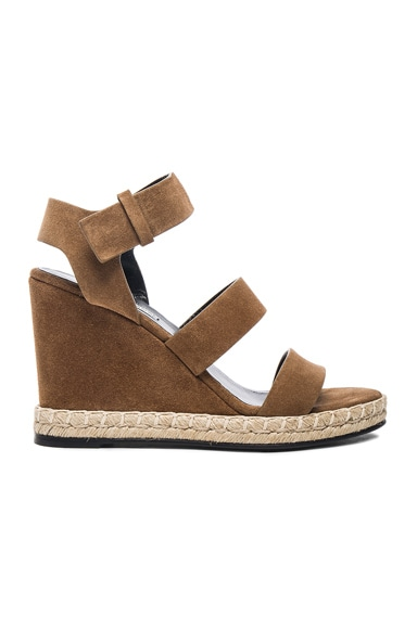 Balenciaga Suede Wedge Sandals in Noisette
