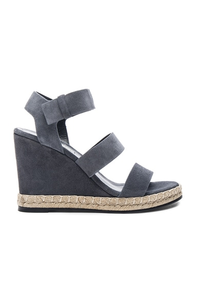 Balenciaga Suede Wedge Sandals in Grey