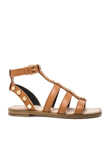 Balenciaga Studded Leather Gladiator Sandals in Cognac