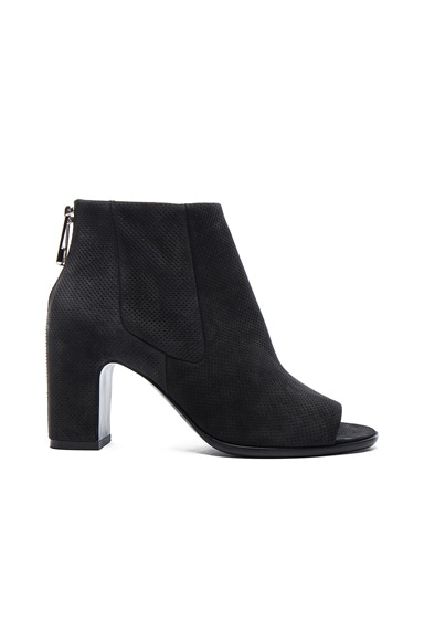 Balenciaga Perforated Leather Open Toe Booties in Black