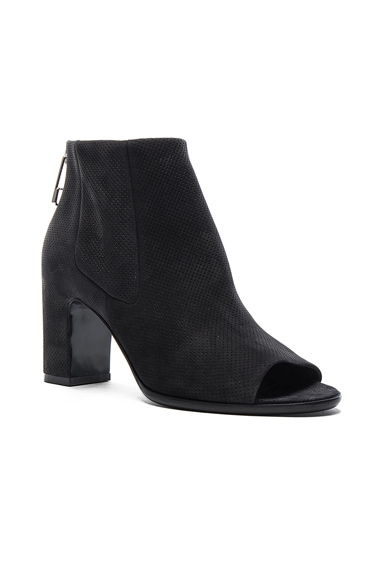 Perforated Leather Open Toe Booties