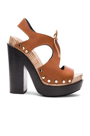 Balenciaga Leather Platform Sandals in Caramel