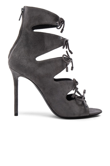 Balenciaga Suede Tie Booties in Grey