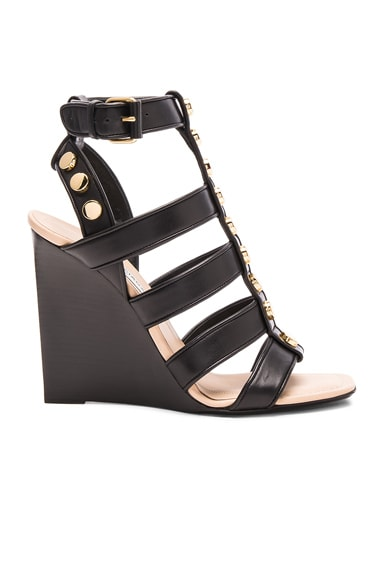 Balenciaga Studded Leather Wedge Sandals in Black